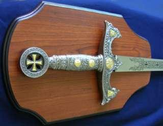 Medieval Crusader Templar Knights Sword 47 w/ Plaque