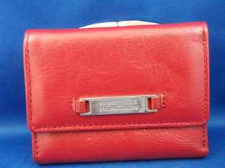 Kenneth Cole Reaction Red Genuine Leather Trifold Wallet Clutch w
