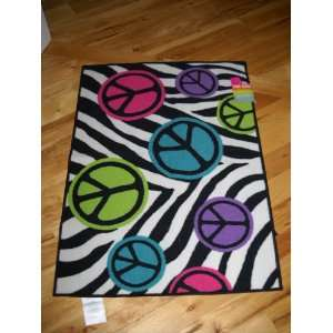 Bedroom Decor Peace Signs with Zebra Stripe Throw Rug Teen Room Home