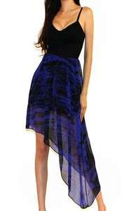 Forever 21 black blue Corset Chiffon Assymetrical skirt party Evening