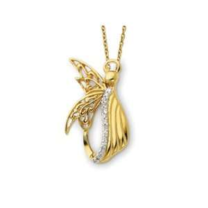 Sterling Silver and Gold plated Angel of Perseverance 18 Inch Necklace
