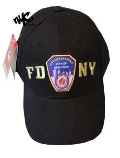 HAT BALL CAP BLACK YELLOW FIRE DEPARTMENT NEW YORK BADGE MENS