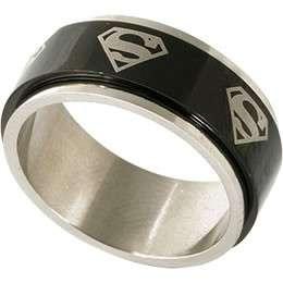 Stainless steel Black Superman spinner ring