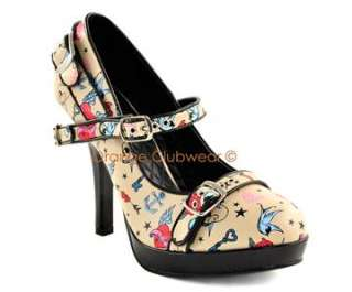 PINUP Rockabilly Tattoo Print Cream High Heels Shoes 885487522975