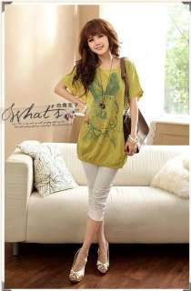 New Women Scoop Neck Rabbit printed Loose Short Sleeve Shirt Blouse