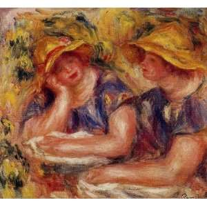 Oil Painting Two Women in Blue Blouses Pierre Auguste Renoir Hand Pa