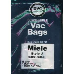 DVC Brand Type J Paper Bag 5 Pack & 2 Filters to fit Miele