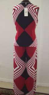 SFARZO TWO PIECE RED & BLACK PANTS SUIT SZ48 OR 14 NWT