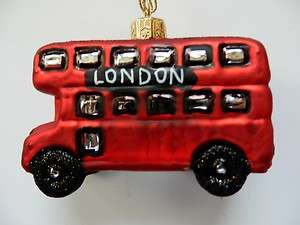 DOUBLE DECKER BUS EUROPEAN BLOWN GLASS CHRISTMAS TREE ORNAMENT