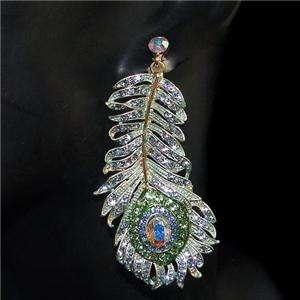 Dangle Earring Blue Swarovski Crystal Pierced Peafowl Bird