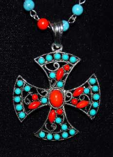WILD Maltese Red & Turquoise Cross Pendant Bead Chain