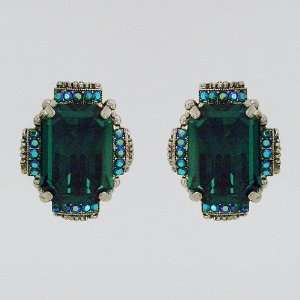Emerald Crystal Clip Earrings Sorrelli Jewelry