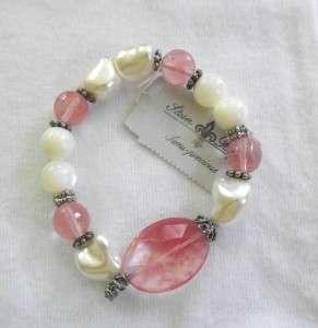 Stein Blye Semi Precious Stone Rose Quartz and Pearl Bracelet New