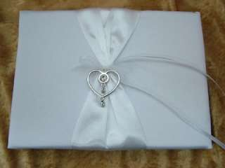 New White Satin Rhinestone Heart Wedding Guest Book