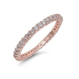 Sterling Silver Rose Gold Stackable Eternity Band Size 6