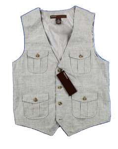 NEW PERRY ELLIS MENS BEIGE VEST SZ M $80
