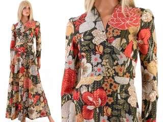Vtg 60s MOD Metallic Lurex SHEER Floral Long Empire Maxi Dress Party