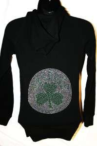 Boston Celtics Bling Womens Thermal Hoodie Sm 3X