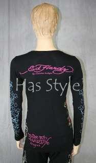 ED Hardy T Shirt Skull & Roses KOI Rhinestones S NWT