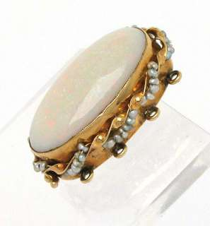 14K GOLD, 10 CT OPAL & PEARLS BRACELET NECKLACE CLASP