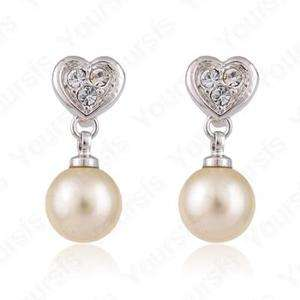 18K White GP Swarovski Crystal heart Pearl Drop Earring