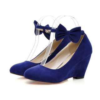 Black Blue Red Faux Suede Ankle Straps Wedge Heels Women Shoes US Size