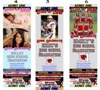 NEW COLLEGE GRADUATION PARTY Ticket Style Invitations