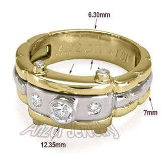 Mens 18k Solid Two Tone Gold Burnish Set Diamond Ring #R1370