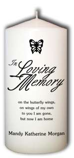 Personalized Butterfly In Loving Memory Memorial Candle