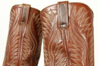 womens brown DAN POST COWBOY BOOTS western GENUINE LIZARD leather 9.5