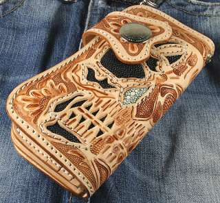 TATTOO DARKNESS BLACK STINGRAY CARVED LEATHER WALLET