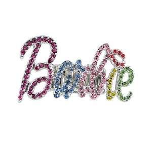 Nicki Minaj Barbie Silver Tone on Multicolor Crystals Stretch Ring