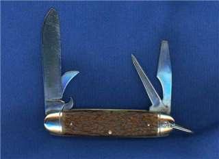 VINTAGE CAMILLUS SCOUT POCKET KNIFE / JIGGED BONE HANDLES / c1930 1950