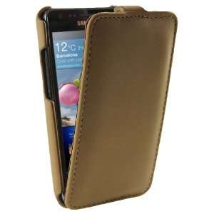 igadgitz Brown genuine Leather Flip Case Cover Holder for
