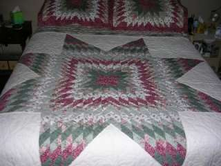 Star Patchwork Quilt Set 2 Pillow Shams Queen Full bedspread cover 80