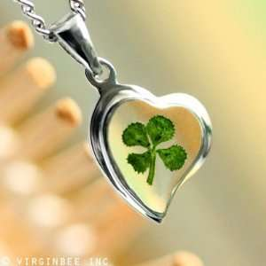 HEART GOOD LUCK CHARM CELTIC SILVER PENDANT NECKLACE
