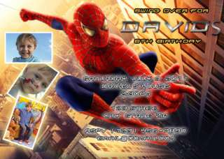 SPIDER MAN custom birthday party invitation (W/ PHOTOS)