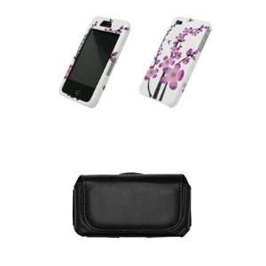 Spring Flowers + Premium Leather Case Side Pouch for Apple Iphone 4