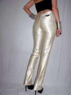 VTG spandex CHAMPAGNE disco HIGH WAIST shiny pants