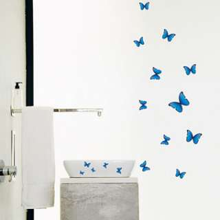 wall paper decals stickers mural decal art removable blue butterly