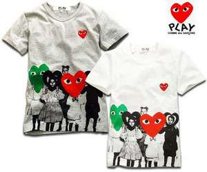 COMME Des GARCONS CDG PLAY HEART TEE SHIRT GRAY SZ S,M,L