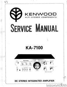 Kenwood KA 7100 Amplifier Service Manual in PDF format