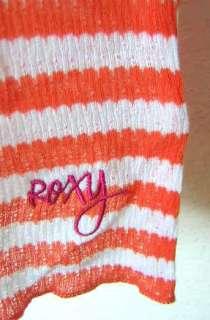 ROXY~ ORANGE WHITE STRIPE MESH HENLEY TANK TOP M