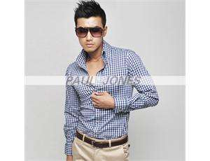 Mens Slim Fit Casual Plaid Dress Shirts Smart Long sleeve Size XS S M
