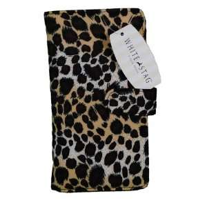 White Stag Womens Check Book Wallet Leopard Print Home