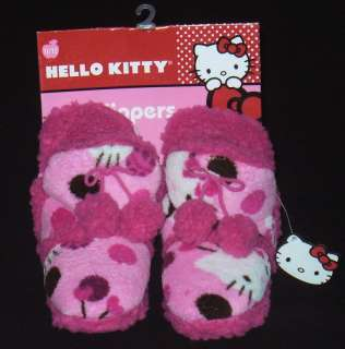HELLO KITTY Girls Pnk Fur Lined Plush Boot Slippers NWT