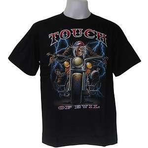 TOUCH OF EVIL SKULL TATTOO CHOPPER grim BIKER T SHIRT