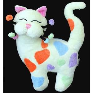 Whimsy Clay Sweetie Cat Plush Toy Multi Colored Hearts Toys & Games