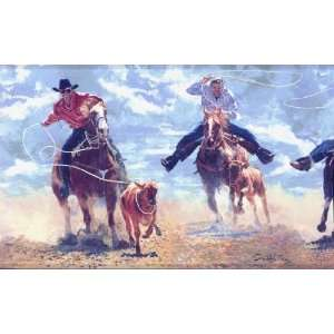 Roping Cowboy Wallpaper Border Home Improvement