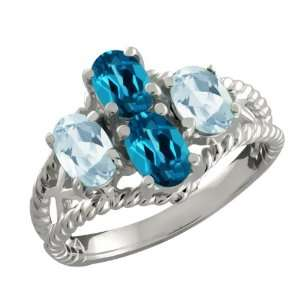 96 Ct Oval London Blue Topaz and Sky Blue Aquamarine Sterling Silver
